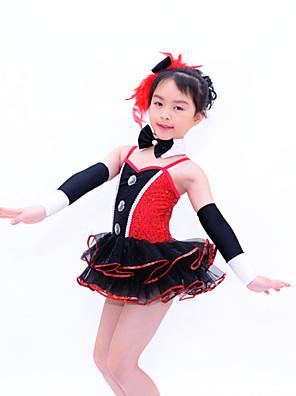 בגדי ריקוד לילדים תלבושות בגדי ריקוד נשים / בגדי ריקוד ילדים ביצועים פוליאסטר / נצנצים / לייקרה / נוצותקשת (תות) / Paillettes / נוצות /