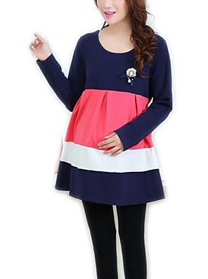 Mini Bavlna / Polyester Volány Těhotenské šaty Kulatý Dlouhý rukáv