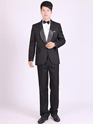 Obleky Na míru Šálový límec Jednořadé s jedním knoflíkem Polyester Jednobarevné 4 ks Černá / Bílá