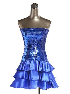Roupas de Balada Vestidos Mulheres Actuação Poliéster / Organza Lantejoulas 1 Peça Vestidos 62