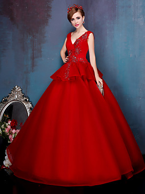 Princess Wedding Dress Wedding Dresses in Color Floor-length V-neck Stretch Satin with Beading / Lace