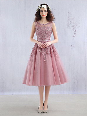 Cocktail Party Dress Ball Gown Jewel Tea-length Lace / Tulle with Beading / Lace