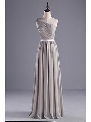 Floor-length Chiffon / Charmeuse Bridesmaid Dress A-line One Shoulder with Beading / Sash / Ribbon / Side Draping