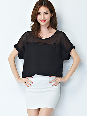 Women's Casual/Daily Plus Size / Simple Summer Blouse,Solid Round Neck Short Sleeve Pink / White / Black Polyester Thin