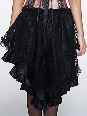 Feminino Vestido com Corset / Tamanhos Grandes Roupa de Noite,Sexy / Push-Up / Estampado / Retro Jacquard Renda / Náilon / Poliéster Preto