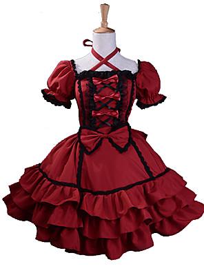 Jednodílné/Šaty Gothic Lolita Lolita Cosplay Lolita šaty Červená Patchwork Krátké rukávy Medium Length Šaty Pro Dámské Bavlna / Terylen