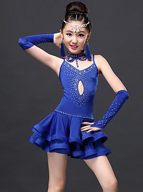 ריקוד לטיני שמלות בגדי ריקוד ילדים ביצועים ספנדקס / תחרה / ויסקוזה עטוף 5 חלקים כפפות / שמלות / Neckwear / שורטיםDress length S-XL:70cm
