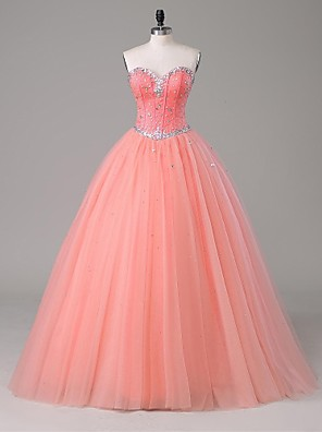 TS Couture® Formal Evening Dress A-line Strapless Floor-length Satin / Tulle with Beading