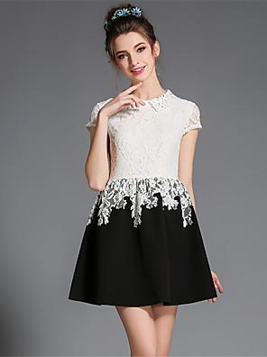 aofuli dámské plus velikosti elegantní resto princezna hollw výšivka patchwork krátký rukáv strana / denní šaty