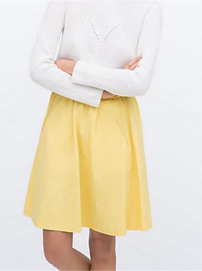 Polyester-Inelastisch-Street chic-Boven de knie-Vrouwen-Rokken