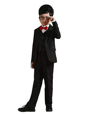 Boy's Cotton All Seasons Performing Arts Formal Suit Coat Shirt Pants Waistcoat Bow Tie Belts Six-piece Clothing Set