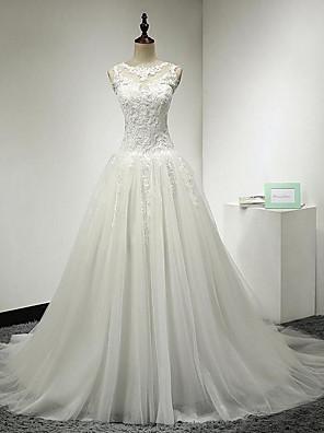 A-라인 웨딩 드레스 코트 트레인 쥬얼리 레이스 / 튤 와 아플리케 / 버튼