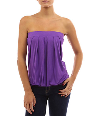 Summer Fashion Women's Sexy Wrapped Chest Backless Sleeveless Strapless Solid Color Slim T-shirt Tops