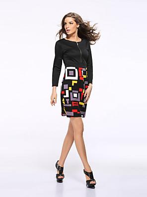 Mulheres Vestido,Trabalho / Tamanhos Grandes Vintage / Moda de Rua Geométrica Decote Redondo Acima do Joelho Meia Manga PretoRaiom /