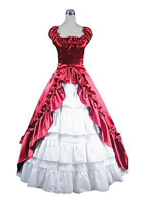 Ermeløs Floor lengde rød og hvit Satin Aristocrat Lolita Dress