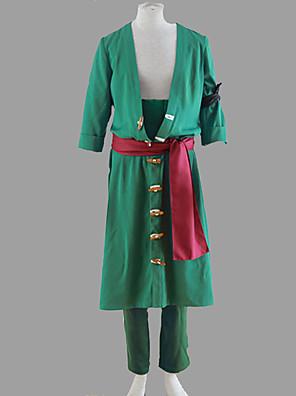 קיבל השראה מ One Piece Roronoa Zoro אנימה תחפושות קוספליי חליפות קוספליי אחיד ירוק מעיל / מכנסיים