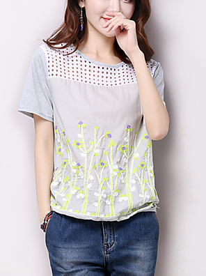Women's Floral White / Gray T-shirt,Casual/Daily /Simple Embroidered Cut Out Patchwork Round Neck Short Sleeve Cotton