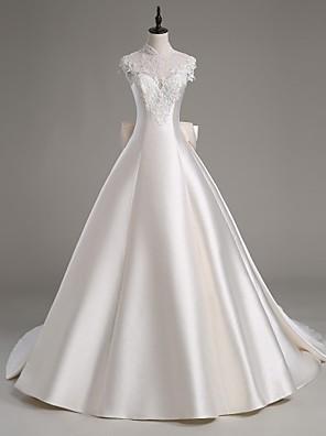 Lanting novia una línea de vestido de boda del tren-catedral de satén con cuello alto / tul