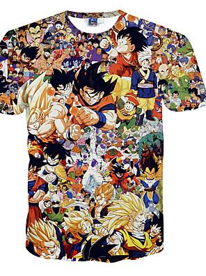 3d t-shirt dragon ball Son Goku druk cosplay kostuums t-shirt geeky kleding ronde hals korte mouwen voor de man / vrouw