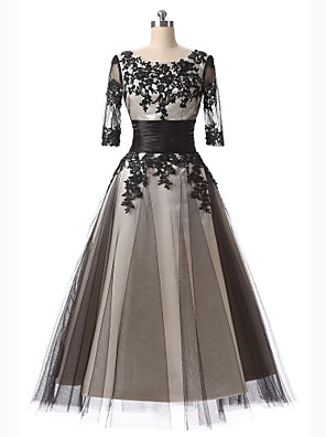 Formal Evening Dress A-line Scoop Tea-length Lace with Appliques / Embroidery / Lace