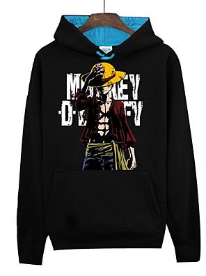 קיבל השראה מ One Piece Monkey D. Luffy אנימה תחפושות קוספליי קפוצ'ון Cosplay דפוס שחור שרוולים ארוכים עליון
