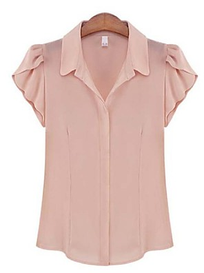Women's Solid Chiffion OL Style Casual All Match T-shirt,Shirt Collar Short Sleeve