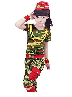 הופעות תלבושות בגדי ריקוד ילדים ביצועים כותנה דפוס / הדפסה 4 חלקים שרוול קצר טבעי מכנסיים / צמיד / עליוןTop:XS: 39cm S:41cm M:43cm L:45cm