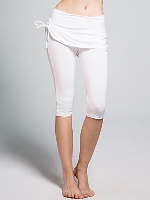 מכנסיים יוגה מכנסי שלושה רבעים נושם / נגד חשמל סטטי / תומך זיעה טבעי מתיחה בגדי ספורט לבן / שחור לנשים אחריםיוגה / פילאטיס / טיפוס /