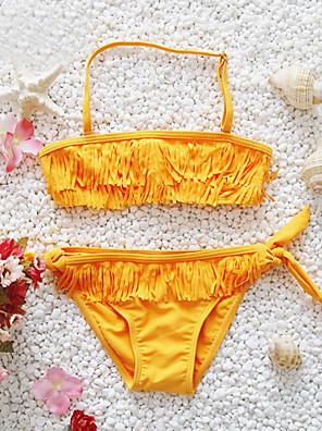 Pigens Badetøj Akryl Farveblok Strand Alle årstider Orange