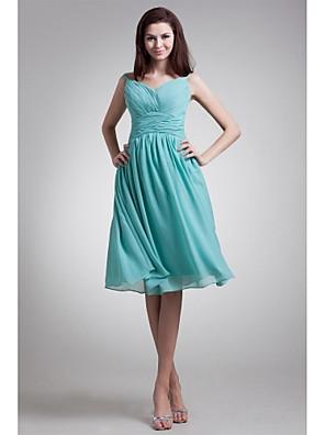 무릎 길이 쉬폰 신부 들러리 드레스 A-라인 V-넥 와 허리끈/리본 / 옆면 드레이핑
