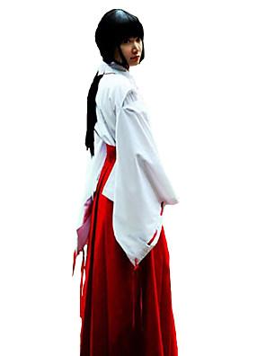 Inspirado por InuYasha Kikyo Anime Fantasias de Cosplay Ternos de Cosplay / Chimono Cor Única Branco / Vermelho Manga CompridaTop /