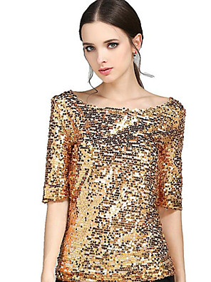 Women's Solid Gold Sequins Club Casual Street chic Plus Size All Match T-shirt,Round Neck ½ Length Sleeve