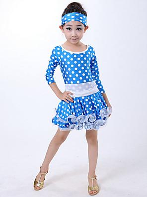 Dança Latina Vestidos Crianças Actuação Fibra de Leite Plissado / Bolinhas 2 Peças Luva de comprimento de 3/4 NaturalVestidos / Fita de