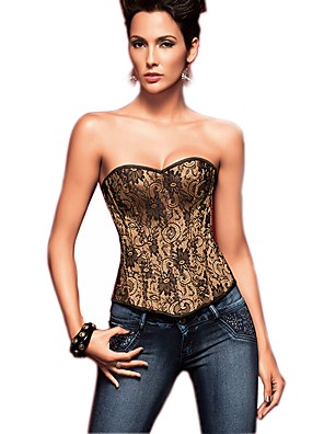 אישה מחוך מתחת לחזה / מחוך מעל החזה / מידה גדולה Nightwear-סקסית / פוש אפ / דפוס / Retro סרוג-Medium ניילון / פוליאסטר זהב נשים