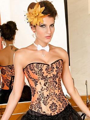 Ženy Korzet pod prsa / Korzet / Větší velikosti Noční prádlo Sexy / Push-up podprsenky / Tisk / Retro Květinový-Nylon / Polyester Oranžová