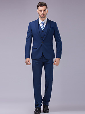 Suits Slim fit Tyndt spidsrevers Single Breasted En-knap 3 dele Blå
