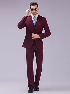 Suits Slim fit Tyndt hakrevers Single Breasted En-knap 3 dele Burgunder Lige m. flap