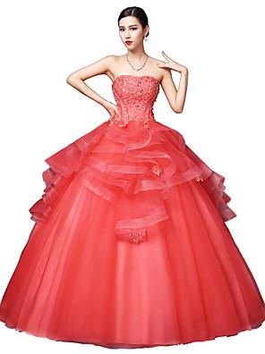 포멀 이브닝 드레스 볼 드레스 끈없는 스타일 바닥 길이 새틴 / 튤 / 스트래치 새틴 와 크리스탈 디테일 / 레이스