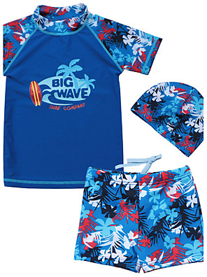 Baby Boy's Summer Blue Swimming 3pcs/set Swimsuit with Pant & Hat Coconut Tree Print Bathing Suit/UV Protection Swimwear