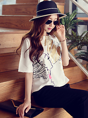 Rosa Doll® Damen Rundhalsausschnitt Kurze Ärmel Shirt & Bluse Weiß-X15BST058