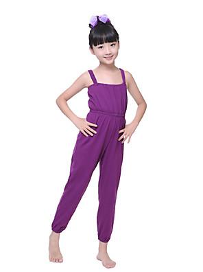 בלט בגדי גוף בגדי ריקוד ילדים אימון כותנה קפלים חלק 1 בלי שרוולים טבעי Leotard100:90cm, 110:92cm, 120:94cm, 130:96cm, 140:98cm, 150:100cm