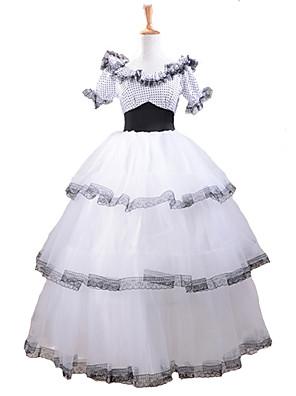 kort erme southern belle kostyme hvite blonder klassisk lolita kjole