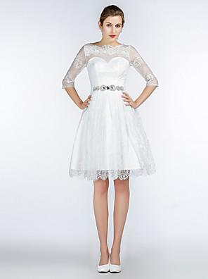 באורך  הברך תחרה / סאטן / טול שמלה לשושבינה - גזרת A עם תכשיטים עם פרטים מקריסטל