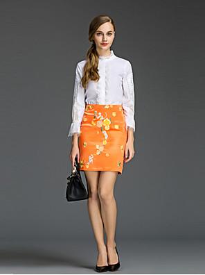 Vrouwen Eenvoudig Lente Set,Nette schoenen Print Coltrui Driekwart mouw Wit Katoen Dun