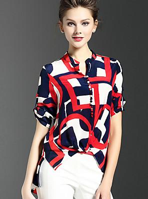 דפוס צווארון V סגנון רחוב ליציאה חולצה נשים,קיץ שרוולים קצרים אדום דק משי