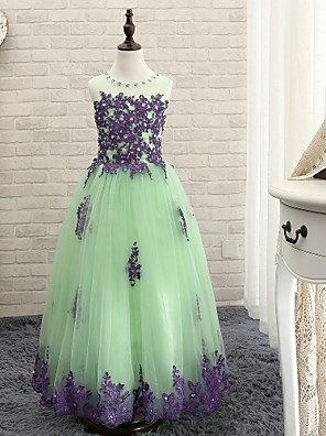 Plesové šaty Na zem Šaty pro květinovou družičku - Tyl Bez rukávů Klenot s Aplikace
