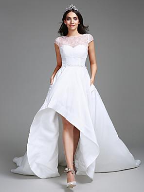볼 드레스 웨딩 드레스 비대칭 스윗하트 태피터 와 레이스 / 진주 / 스팽글