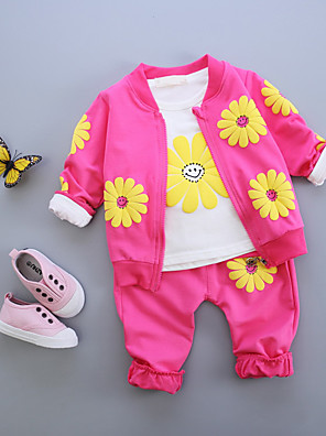 Baby Casual/Daily Print Clothing Set,Cotton Fall-Pink / Purple / Red / Yellow