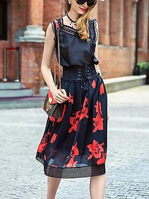 prázem női nyomtatott fekete szoknya, egyszerű térdig érő