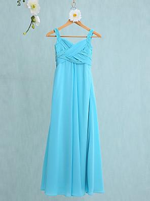 2017 לנטינג שיפון באורך הרצפה bride® שמלת השושבינה זוטרית רצועות חצוצרה / בת ים עם שתי וערב